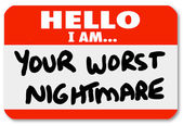Hello I am Your Worst Nightmare Nametag Sticker — Stock Photo