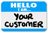 Hello I am Your Customer Nametag Sticker — Stock Photo