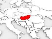 匈牙利国家抽象 3d 地图插图的欧洲大陆 — 图库照片