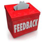 Casella di feedback suggerimento raccogliendo idee pensieri — Foto Stock