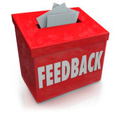 Feedback Suggestion Box Collecting Thoughts Ideas — Zdjęcie stockowe