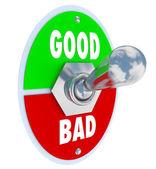 Bon vs mauvais mots interrupteur levier juge positif ou négatif — Photo