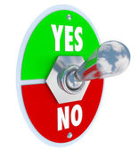 Toggle Switch Lever Yes No Approval or Rejection — Stock Photo