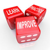 Learn Practice Improve Words 3 Red Dice — Stok fotoğraf
