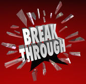 Breakthrough Break Through Word Glass Breaking — Stock Photo