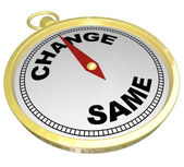 Change Vs Same Gold Compass Changing Innovation — Stock Photo