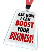 Ask Me How I Can Boost Your Business Badge — Stock Photo