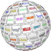Hello Sphere Word Tiles Global Languages Cultures — Stock Photo