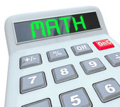 Math - Word on Calculator for Mathematics Figuring Answer — Stock Photo