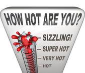 Quão quente está termômetro palavras atraente sexy — Foto Stock