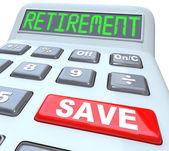 Spara för pensionering ord på miniräknare ekonomisk säkerhet — Stockfoto