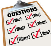 Encuesta portapapeles preguntas de investigación que lo donde por qué — Foto de Stock