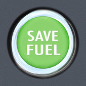 Save Fuel Green Car Start Button Saving Gasoline — Stock Photo
