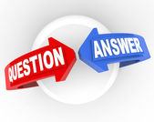 Question Answer Arrow Words Problem Solution — Stockfoto