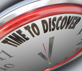 Time to Discover Words on Clock Scientific Research — Stock Photo