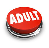 Adult Word Red Button Mature Restricted Content — Stock Photo