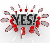Yes Approval Acceptance Speech BubblesTalking — Stock Photo