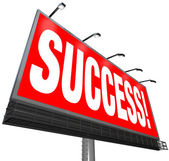 Success Word Outdoor Advertising Billboard Successful Goal — Stock Photo