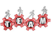 Team Gears Workers Marching Together Teamwork — Stock Photo