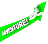 Adventure Person Riding Arrow Up Fun Excitement — Stock Photo