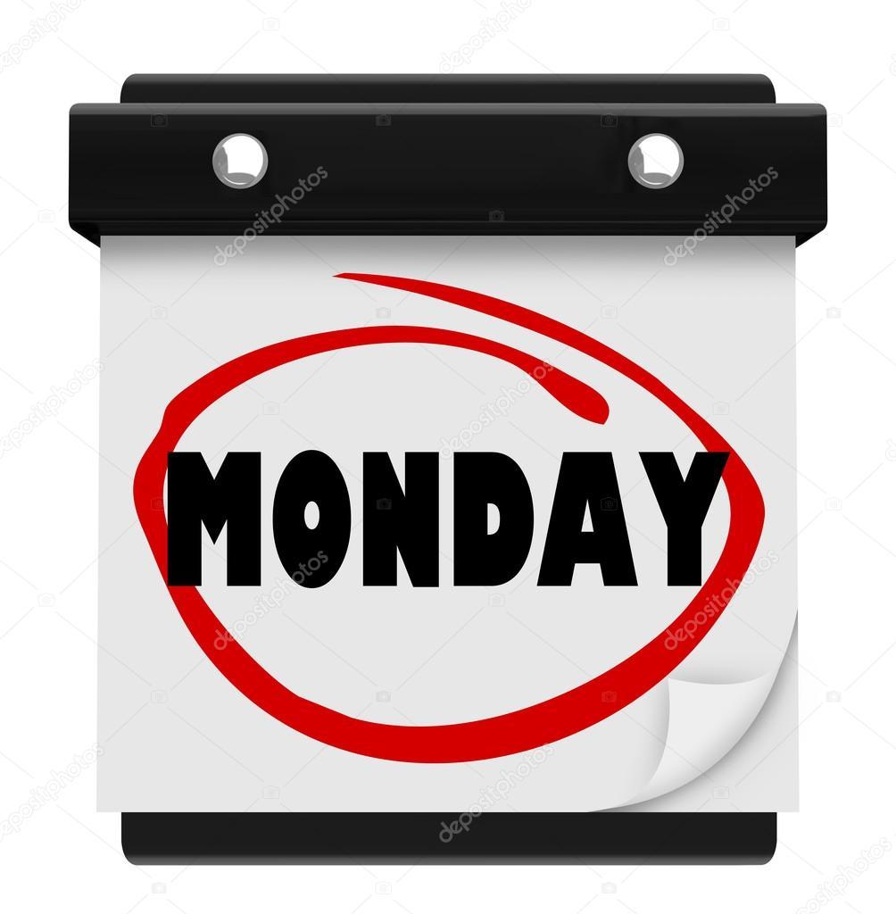 palavra de calendário de parede segunda-feira começar a semana de ...