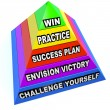 Win Steps Pyramid Success Plan Practice Challenge - Stock Photo