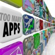 Stock Photo: Too Many Apps Software Programs Oversupply Glut Surplus