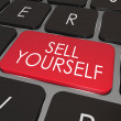 Sell Yourself Computer Keyboard Red Key Promotion Marketing — Stock Photo