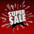 Super Sale Words Shatter Glass Big Clearance Closeout Savings Ev — Stock Photo