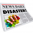 Newspaper Disaster Headline Crisis Trouble Alert — Stock Photo