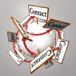 Contact Signs Connected Arround Sphere World — Stock Photo