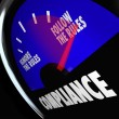 Stock Photo: Compliance Gauge Measuring Following Rules Compliant