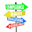 Compliance Rules Regulations Guidelines Arrow Signs — Stockfoto