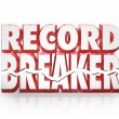 Record Breaker 3D Words Historic Best Score Results — Foto Stock