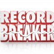 Record Breaker 3D Words Historic Best Score Results — Stock Photo