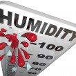 Stock Photo: Humidity Level Rate Rising 100 Percent Thermometer