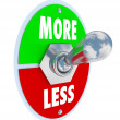 Stock Photo: More Vs Less Toggle Switch On Off Increase Higher Amount