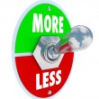 More Vs Less Toggle Switch On Off Increase Higher Amount — Stock Photo