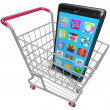 Foto de Stock  : Smart Phone Cellphone Apps Shopping Cart Buying New Telephone