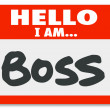 Foto de Stock  : Hello I Am Boss Nametag Sticker Supervisor Authority