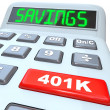 Savings Word Calculator 401K Button Retirement Future — Stock Photo