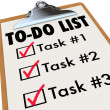 To-Do List Tasks Clipboard Checkmark Words Remember Goals - Stock Photo