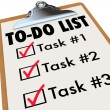 To-Do List Tasks Clipboard Checkmark Words Remember Goals — 图库照片