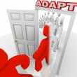 Stockfoto: Adapt March Through Doorway Adapting to Change