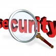Security Magnifying Glass Word Secure Private Safety — Stock Photo