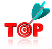 Aiming for the Top Word Arrow Target Bulls-Eye — Stock Photo