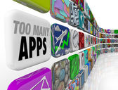 Too Many Apps Software Programs Oversupply Glut Surplus — Stock Photo
