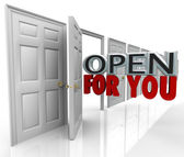 Open For You Door Opening Words Always Inviting Welcome — Stock Photo