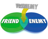 Frenemy Venn Digram Friend Becomes Enemy — Stock Photo