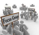 Many Focus Groups Meeting Signs Niche Customers — Stock Photo